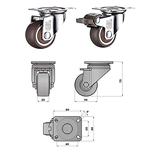 41uu9QCQnpL - GBL - 4 Giratorias de Goma, 50mm 200KG Ruedas para Muebles, Rueda Pivotantes, Ruedas de Freno Industrial Con Placa de Montaje. (50mm)