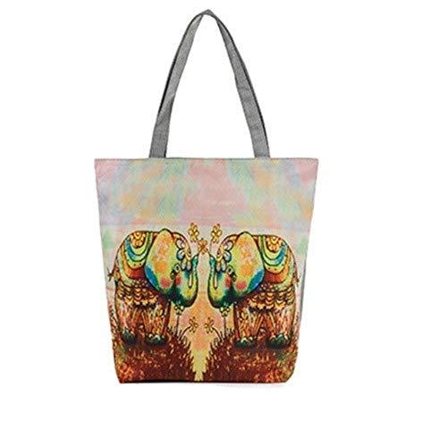 Hombro Bolsa De Tela Mujer Dos Elefantes Impresión Gran Capacidad Bolsa De...