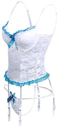 EmilyLe Damen Hot Korsagen & Bustiers Push-up Nachtwäsche Erotik Dessous Set V-Ausschnitt Spitze Negligee mit G-String Weiß