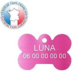 GRAVURE CONCEPT Médaille pour Chien et Chat | Médaille gravée Personnalisable | 1 à 2 Lignes (Rose, Os)