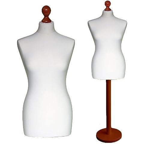 LUK-MAL Maniqui Busto de señora de la talla 46/48 (Size XXL), Funda en color blanco-crema, Base base madera redonda en color
