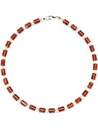 Korallenschmuck (Halskette) Korallenkette mit Perlen Verschluss 925er Sterling-Silber