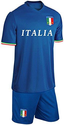Italien Kinder Trikot Set Fußball Fan Zweiteiler Blau Größe 128