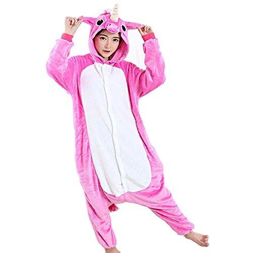 Kostüme Rot Erwachsene M&m (Overall Cartoon Einhorn Pyjamas Tier Nachtwäsche Cosplay Overall Kostüm Schlafsack für Erwachsene (M, Stieg)