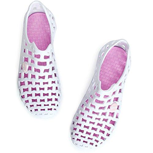 Sandalen. Tezoo Damen Herren Sommer-Schuhe Sandale Clogs Classic Unisex Badeschuhe Garten-Schuhe Strand-Schuhe Ultra Weich Bequem (Hersteller-Größentabelle im Bild Beachten) 6 Farben Weiß-Pink