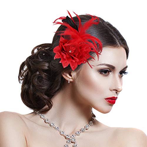 Damen Elegant Fascinator Haar Clip Accessoire Mesh Bänder Federn Hochzeitskirche Kopfbedeckung (Hut Mit Feder)