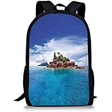 VVIANS School Bags Island,Island at Seychelles Coconut Journey Jungle Rocky Coast Waves Surface Print