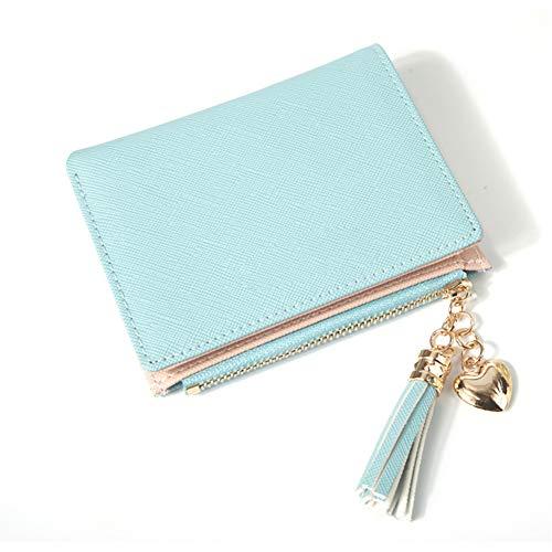 Cdkj le donne piccolo portafoglio lady mini borsa del cuoio piegata portafoglio corto, blu cappello
