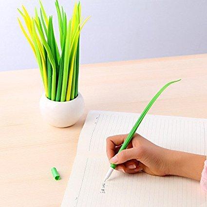 Kreative Grass Gel Pens (drei Farben, vier von jeder Farbe) weiche Gummiwalze Kugelschreiber (0,38 mm, Schwarz) (12 Stück)
