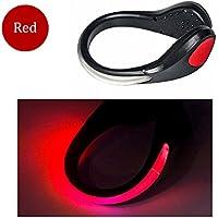 TEQIN Nero Guscio LED Rosso Flash Luci Clip Calzatura di Sicurezza per Cambio Running jogging passeggiate spinning o Bicicletta + Bag Velvet (Set di 2)
