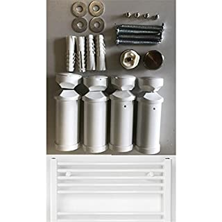 Mount for Heated towel rail in white, suitable for straight and bent Radiator