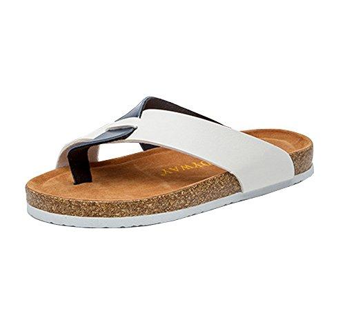 Sandali Sughero Unisex Adulto - Infradito Flip Flops - Scarpe Da Spiaggia Bianco Blu