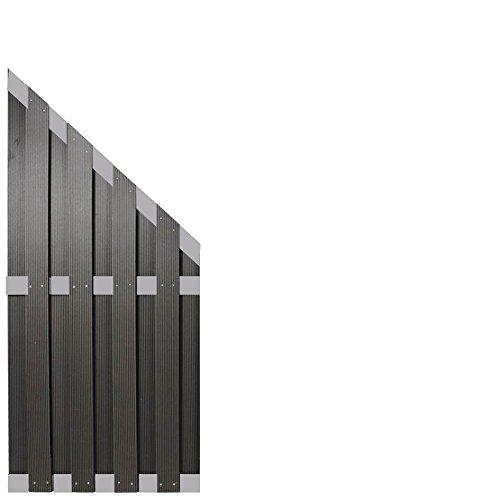 WPC Sichtschutzzaun Malmö 90×180/90 cm, anthrazit mit Aluminium Streben -EXTRA STABIL-