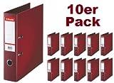 Esselte PlastikOrdner Standard, DIN A4, 75 mm, sortiert, 10er Pack (A4, bordeux)