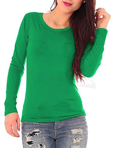 Damen Jersey Langarm Basic T-Shirt mit Rundhals lang Ausschnitt rund Top dünnes Shirt einfarbig uni 1/1 Arm langärmlig Gr 38 / M - grün grasgrün