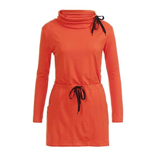 Frauen massiver Bogen Kragen Hohe Taille Schnürsenkel Taschen. Lässige Mini-Kleider.