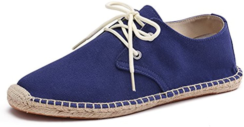 Zapatos con Cordones Lona Azul Alpargatas para Hombre Lino Espadrilles  -