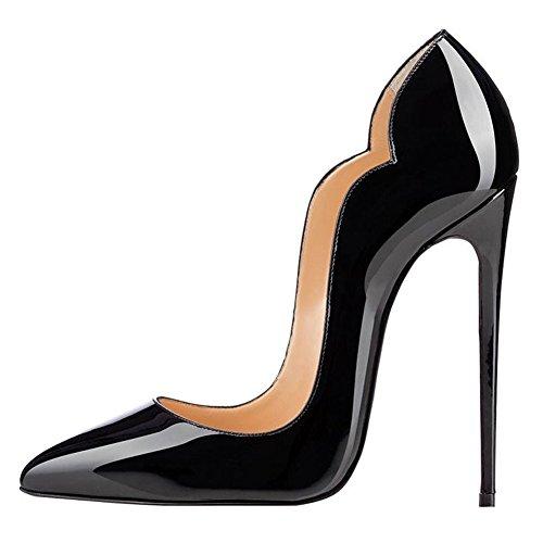 EKS Damen Gradient Spitze Lackleder Kleid-Partei Hochzeit Pumps Size 35-46 Schwarz