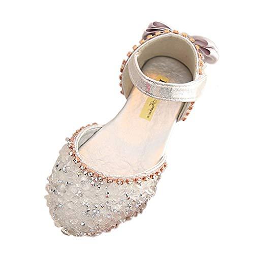 Prinzessin Sandalen für Baby Mädchen,Dorical Kleinkind Tanzschuhe Schuhe Kinderschuhe Mädchen Bowknot Kristall Lauflernschuhe Mädchen Show Schuhe Freizeitschuhe(Silber,7Jahre) (Stiefel Hunter Kleinkind)