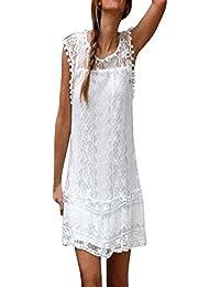 Moda Vestidos Mujer Casual Verano Lace Splice Vestido sin Mangas PáRrafo Corto Borla Mini Vestido Vestido de Playa