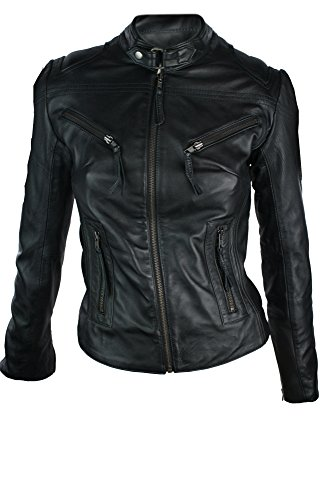 Damen Leder Jacke in Biker Style Schwarz Rock Style Echtes Leder Schwarz
