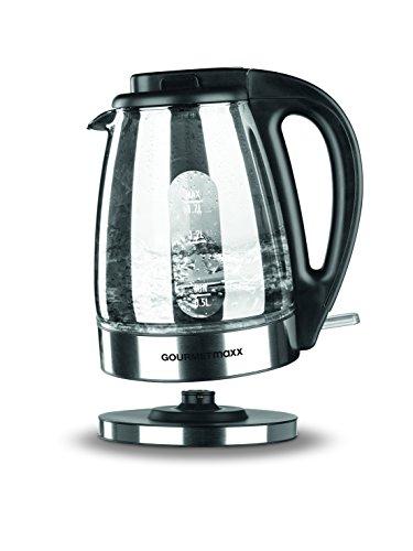Glas Wasserkocher mit LED Beleuchtung im edlem Chrom-Design mit 2000 Watt Leistung, 1,7 Liter (BPA Frei)
