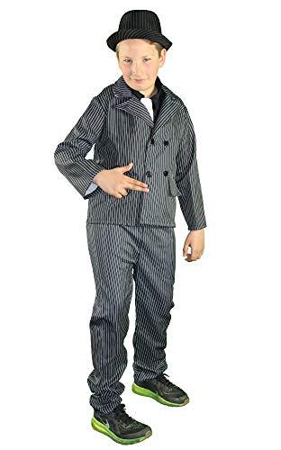 Foxxeo Gangster Kostüm für Jungen mit Hose Sakko und Krawatte Fasching Karneval 20er Jahre Mott-Party Größe 146-152