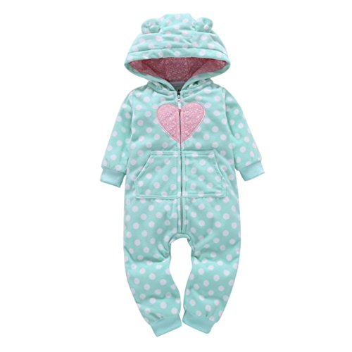 SHOBDW Girls Rompers, Infant Baby Boys Girls Autumn Winter Thicker Print Hooded Romper Jumpsuit Outfit Kid Clothes