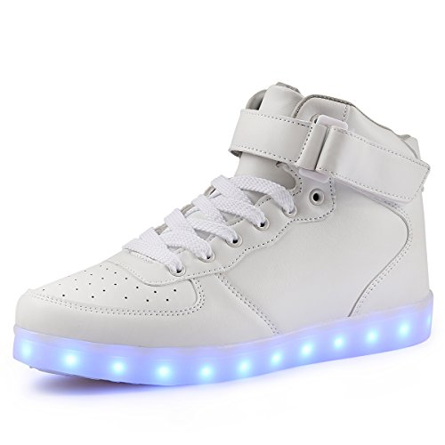 Preisvergleich Produktbild TULUO Kind u. Männer u. Frau USB-aufladende LED 7 Farben-helle hohe SpitzenSneakers Helle Schuhe weiß 27 EU