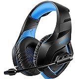 Los auriculares estereo de auriculares de PS4, juego, juego, reducción de ruido, con micrófono, apto para PS4 Xbox One Laptop PC Smartphone,Azul