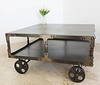 Industrial Cart Wheels Metal Coffee Table - low-cost UK light store.