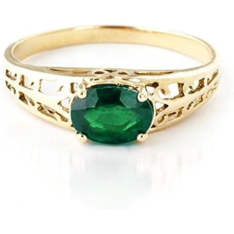 QP Jewellers naturale-Anello da donna in oro 9 carati con smeraldo in taglio ovale, 1,15ct 2395Y