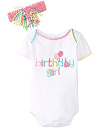 MUD PIE - Baby Girl First Birthday Outfit - Bodysuit with Tutu, or Bodysuit with Headband from 100% Cotton