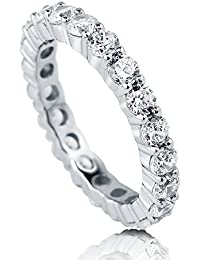 BERRICLE Rhodium Plated Sterling Silver Cubic Zirconia CZ Anniversary Stackable Eternity Band Ring