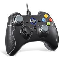 [Manette PC PS3 Filaire] EasySMX Manette PS3 Filaire avec Double Vibration, Gamepad Connecté par Fil pour PC/Android / PS3 / TV Box (Gris)