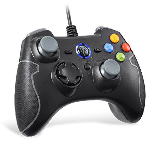 EasySMX Mando para PC, PS3 Gamepad Alámbrico, Joystick con los Botones de Doble-Vibración Turbo y Trigger Compatible con Windows/Android/PS3/TV Box (Gris)