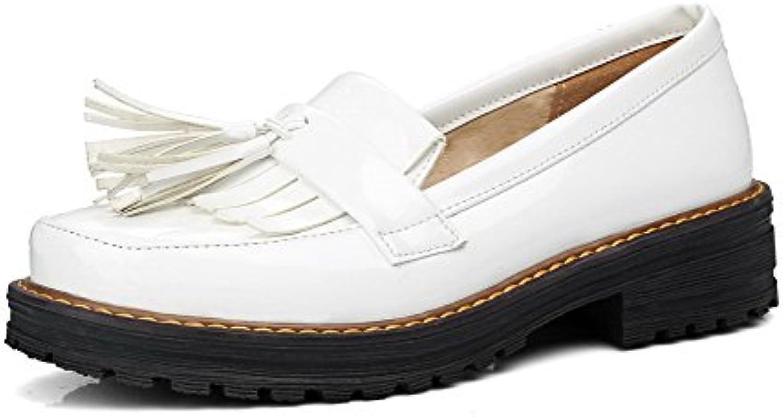 d78d45de5056 Odomolor Women s Low-Heels Solid Pull-On PU Round-Toe Pumps-Shoes ...