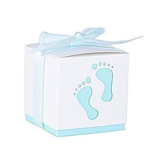 AONER 50 STK. Gastgeschenk Box inkl. Seidenbänder 6x6x6 cm Geschenkbox für Hochzeit, Taufe usw. Pralinenschachtel süßigkeiten Bonboniere (Himmelblau)
