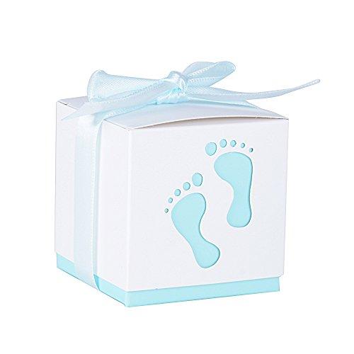 50Pcs Cajas de Papel de Caramelo Bombones Regalos Detalles para Invitados de Boda, Fiesta, Comunion o Bautizo, Cumpleaños con Cintas (Pequeños pie Azul)