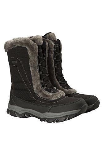 Mountain Warehouse Botas de Nieve para Mujer de Ohio: Zapatos de Invierno a Prueba de Agua, Parte Superior de Tela, Forro y Suela de Goma Isotherm Transpirable y Duradero Negro 39