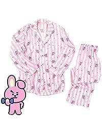 FANMURAN Kpop BTS Bangtan Jungen BT21 Cartoon-Version JUNG KOOK Jimin V Gleichen Pyjama Harajuku Langarm-Shirt Nighty Männer Frauen Bedgown
