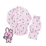 FANMURAN KPOP BTS Bangtan Boys BT21 Versión de Dibujos Animados Jung JOOK Jimin V Same Pijama de Harajuku Camisa de Manga Larga Nighty Hombre Mujer Bedgown (Cooky, M)
