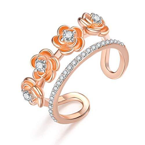 PRAK Damen Ring 925 Sterling Silber Verstellbar,Einzigartige Wave Design Rose Gold Ringe Gefüllt Funkelnden Zirkonia Für Frauen Frau Schöne