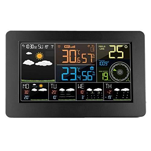 Knoijijuo WiFi Estación Meteorológica Reloj Despertador Digital De Pared Termómetro Higrómetro Previsión...