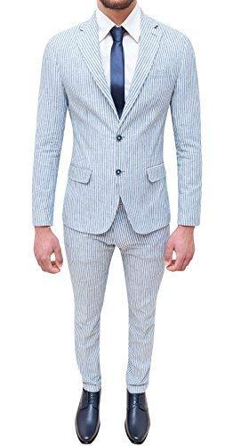 Abito completo uomo sartoriale in lino azzurro bianco slim fit elegante estivo (50)
