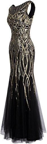 Angel-fashions Damen Ohne Arm Pailletten Baum Ast Net Meerjungfrau-Kleid-Kleid (XL, Schwarzes Gold) - 3