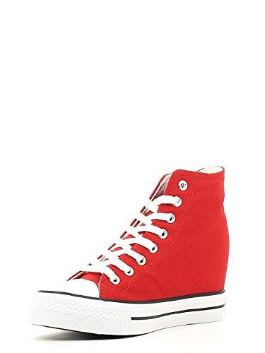 Cafè Noir Sneaker femmes Wedge Cm 7 Toile Noir 038 ROSSO