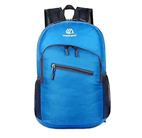 Packable Daypack,18L Lightweight foldable Backpack bag for men and women outdoor Sport Camping Hiking Cycling Travel and school Daily Usage (Sky Blue)