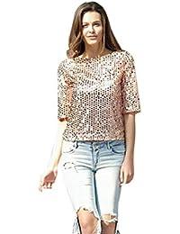 2cbe40cf3f935 Mujer T Shirts Elegantes Tops Espumoso Lentejuelas Moda Verano Mode De  Marca Manga Corta Cuello Redondo