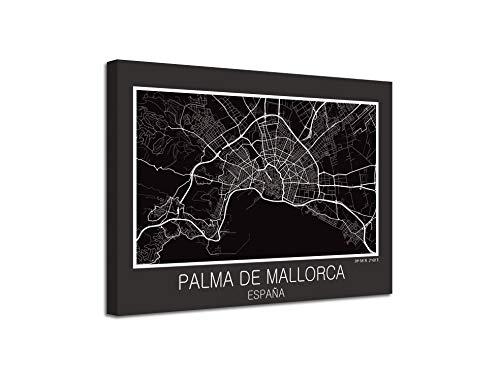 Foto Canvas Cuadro Mapa Palma de Mallorca España en Lienzo Canvas Impreso Decorativo | Cuadros Modernos